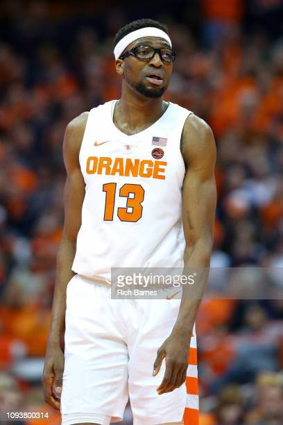 Paschal Chukwu of the Syracuse Orange looks on against the Georgia Tech Yellow Jackets during the second half at the Carrier Dome on January 12, 2019...