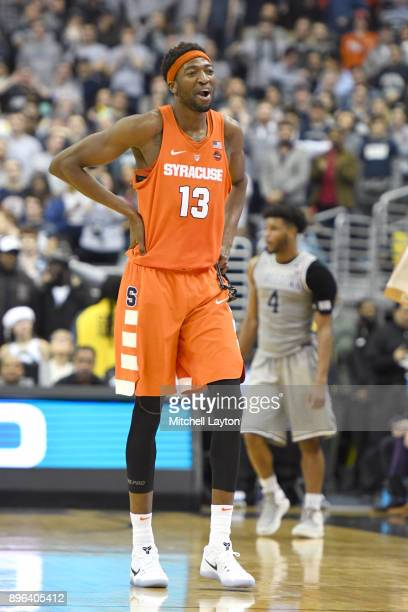Paschal Chukwu of the Syracuse Orange looks on during a college basketball game against the Georgetown Hoyas at Capitol One Arena on December 16 2017...