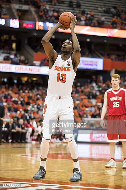 Paschal Chukwu of the Syracuse Orange shoots a free throw during the second half against the Boston University Terriers on December 10 2016 at The...