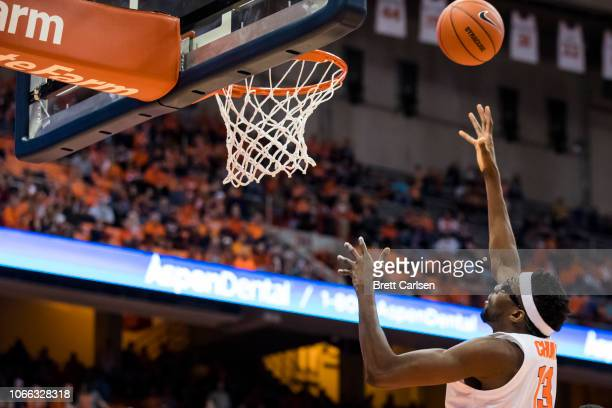 Paschal Chukwu of the Syracuse Orange shoots the ball during the second half against the Morehead State Eagles at the Carrier Dome on November 10,...