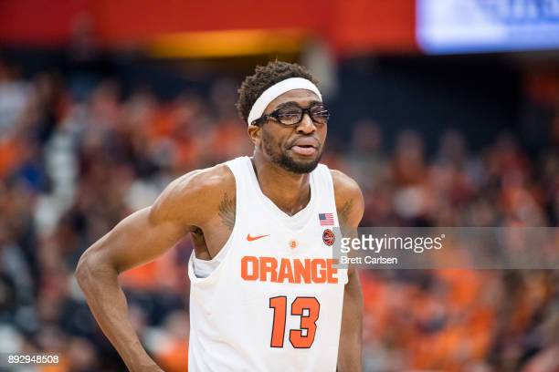 Paschal Chukwu of the Syracuse Orange walks on the court during the game against the Colgate Raiders at the Carrier Dome on December 9 2017 in...