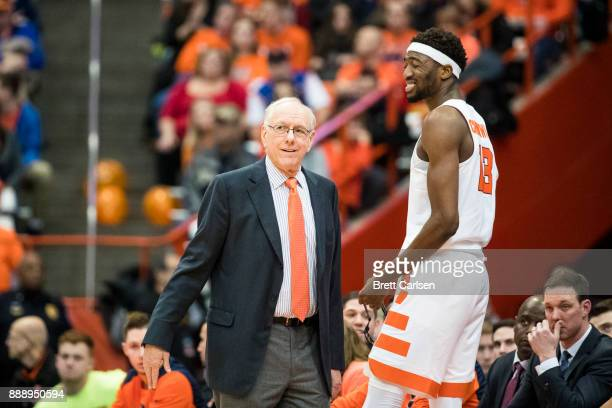 Paschal Chukwu reacts while being spoken to by head coach Jim Boeheim of the Syracuse Orange during the first half against the Colgate Raiders at the...