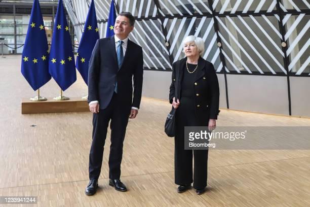 Paschal Donohoe, Ireland's finance minister, left, and Janet Yellen, U.S. Treasury secretary, arrive at a Eurogroup meeting of European Union finance...