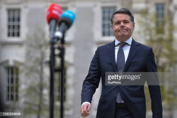 Paschal Donohoe, Irish Minister for Finance, arrives at the Media briefing at Government Buildings in Dublin. KBC Bank Ireland has announced today...