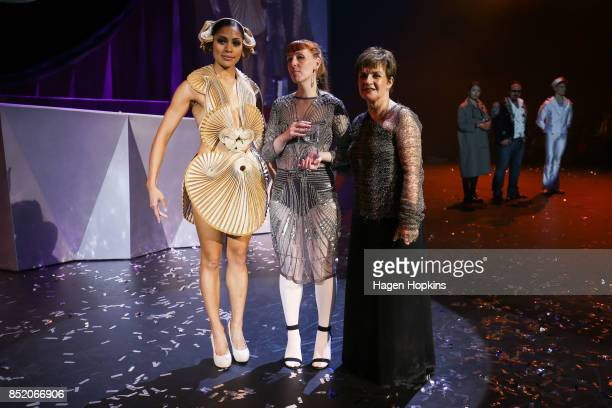 R R Pascoe of Australia poses with her creation 'Mollusca' and WOW Ceo Gisella Carr after winning the Australia Pacific International Award during...