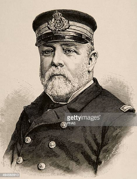 Pascual Cervera Topete Admiral of the Spanish Armada Engraving by Arturo Carretero The Spanish and American Illustration 1890