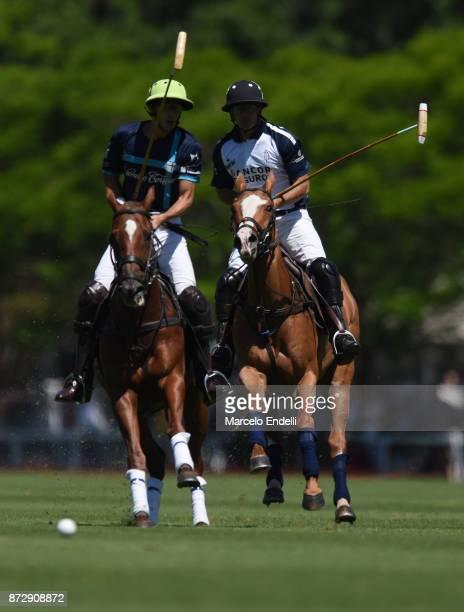 Pascual Sainz de Vicuña of La Esquina and David Stirling of La Dolfina follow the ball during a match between La Dolfina and La Esquina L M as part...