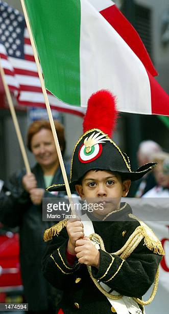Pascuale Altilio is dressed as an Italian Carabiniere officer during the Columbus Day Parade October 14 2002 in New York City Mayor Michael Bloomberg...