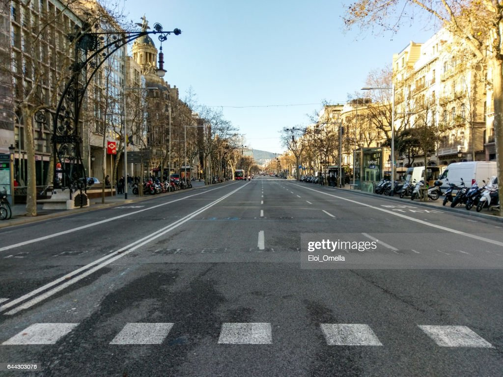 paseig paseo de gracia barcelona empty bus moto : Stock Photo