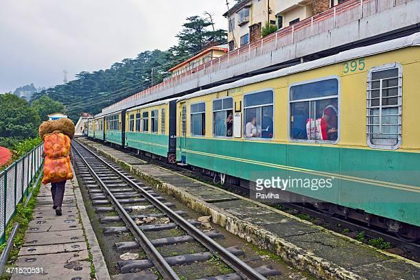 Pasengers on Old Mountain Train Shimla Railway Station India
