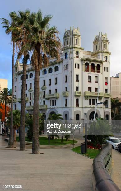 paseo de las palmeras and trujillo building, ceuta, spain - ceuta fotografías e imágenes de stock