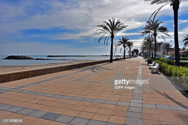 Paseo Maritimo street and the access to the beach deserted during confinement 43 days since the government of Spain decreed the state of alarm and...