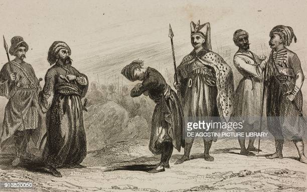 1 Pasha 2 Chatir 3 Militiamen 4 Hardagi 5 Egyptian soldier Turkish troops Turkey engraving by Lemaitre Lalaisse and Chaillot from Turquie by Joseph...
