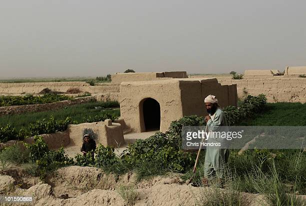 Pashtun farmer and his son stand on their farm fields June 3 2010 in Walakhan a village south of Kandahar Afghanistan Tiny Walakhan which has perhaps...