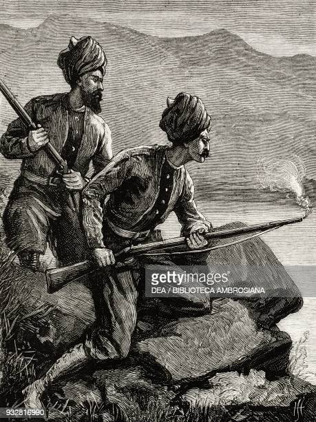 Pashtun infantry soldiers Afghanistan Second AngloAfghan War illustration from the magazine The Graphic volume XVIII no 470 November 30 1878