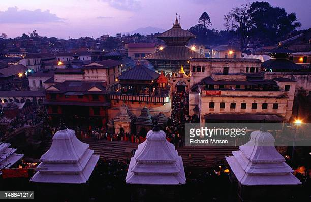 Pashupatinath Temple at dusk.