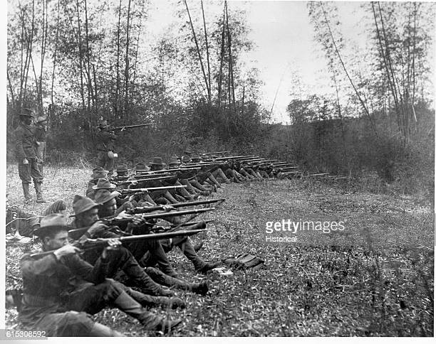 Pasig Oregon Volunteer Infantry on firing line March 14 1899