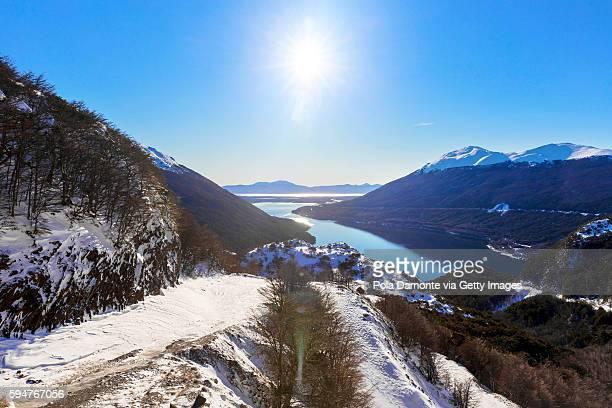 Paso Garibaldi with Lakes background at Ushuaia, Tierra del Fuego, Argentina