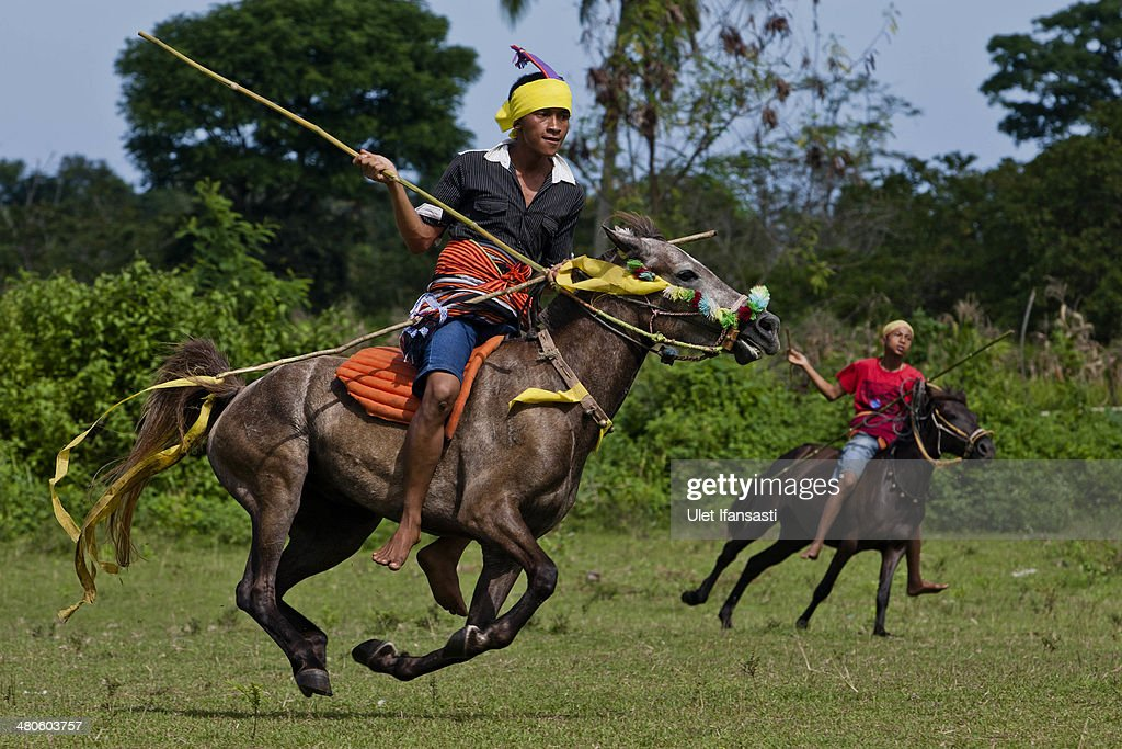 Pasola riders prepare to throw their spear during the pasola war festival at Weiha village on March 24, 2014 in Sumba Island, Indonesia. The Pasola Festival is an important annual event to welcome the new harvest season, which coincides with the arrival of 'Nyale' sea worms during February or March each year. Pasola, an ancient ritual fighting game, involves two teams of men on horseback charging towards each other while trying to hit their rivals with 'pasol' javelins and avoid being hit themselves.