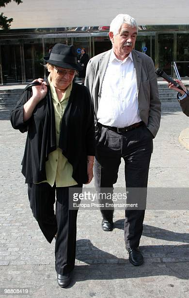 Pasqual Maragall and Diana Garrigosa attend the funeral for Spanish journalist and Tv presenter Jordi Estadella on May 3 2010 in Barcelona Spain