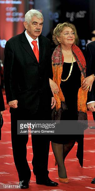 Pasqual Maragall and his wife Diana Garrigosa arrive to the 2011 edition of the 'Goya Cinema Awards' ceremony at Teatro Real on February 13 2011 in...