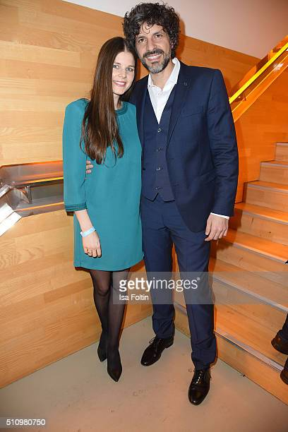 Pasquale Aleardi and his girlfriend Petra Auer attend the PantaFlix Party on February 17, 2016 in Berlin, Germany.