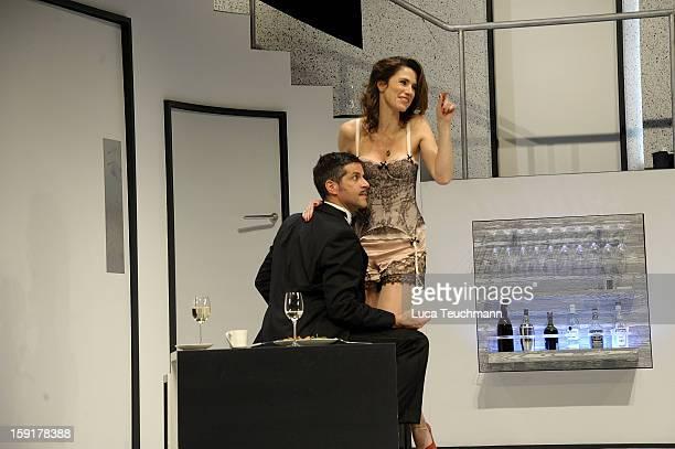 Pasquale Aleardi and Julia Bremermann performs during the 'Geruechte...Geruechte...' photo rehearsal at Komoedie am Kurfuerstendamm Theater on...