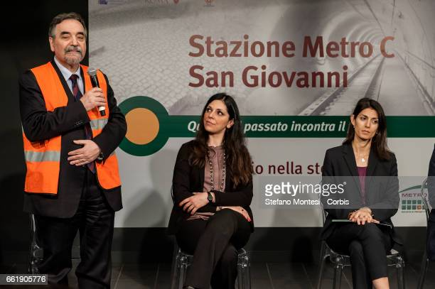 Pasquale Cialdini sole director of Rome Metropolitan Linda Meleo Councillor for Mobility of Roma Capitale and Mayor of Rome Virginia Raggi during the...