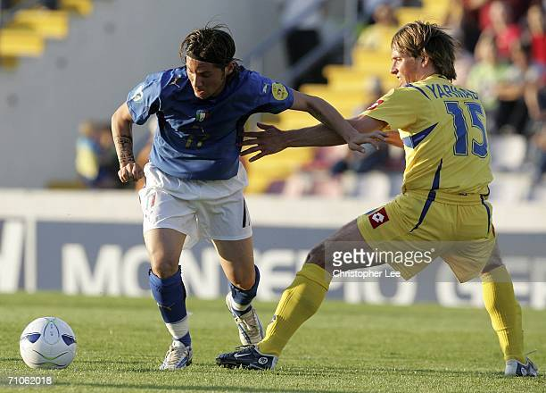 Pasquale Foggia of Italy battles with Grigoriy Yarmash of Ukraine during the UEFA U21's Championship 2006 match between Italy and Ukraine at the...