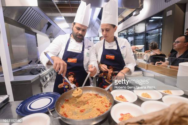 Pasquale Iovane manager of the Pastificio Di Martino from Gragnano Neaples Italy introduces the show cooking of the italian chef Riccardo Ronchi...