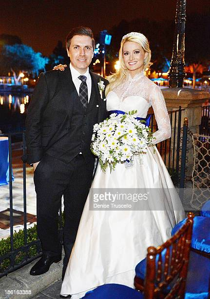 Pasquale Rotella and Holly Madison during their wedding reception at Disneyland on September 10 2013 in Anaheim California