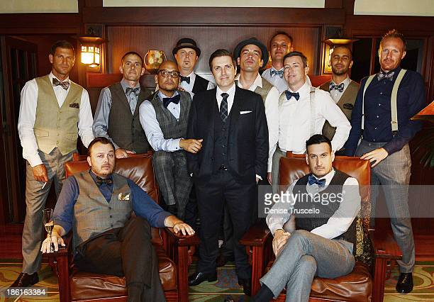 Pasquale Rotella poses for photos with his groomsmen before his wedding at Disneyland on September 10 2013 in Anaheim California