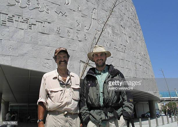 Pasquale Scaturro and Gordon Brown pose at Alexandria Library in the northern Egyptian port city 28 April 2004 The two overjoyed Americans sailed...