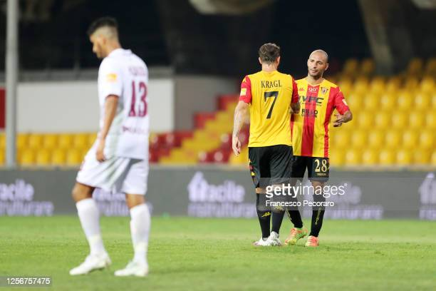Pasquale Schiattarella and Oliver Kragl of Benevento Calcio celebrate the 3-1 goal scored by Oliver Kragl during the Serie B match between Benevento...