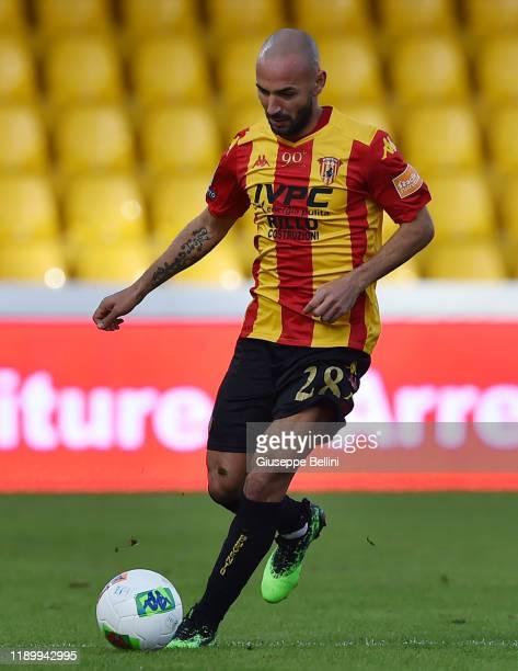 Pasquale Schiattarella of Benevento Calcio in action during the Serie B match between Benevento Calcio and Crotone FC at Stadio Ciro Vigorito on...