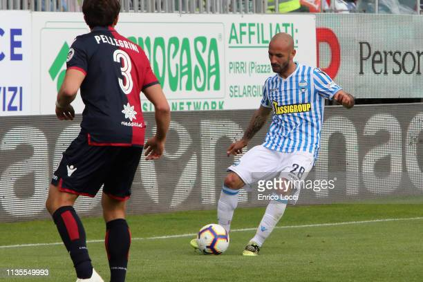 Pasquale Schiattarella of Spal in action during the Serie A match between Cagliari and SPAL at Sardegna Arena on April 7 2019 in Cagliari Italy