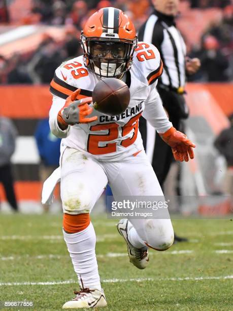A pass falls incomplete in front of running back Duke Johnson Jr #29 of the Cleveland Browns in the third quarter of a game on December 17 2017...