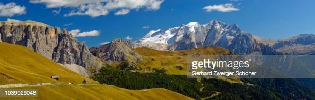 Pass road and Marmolata Massif, Passo Sella (Sella Pass), Bolzano-Bolzen, Italy
