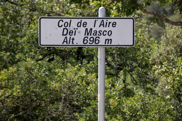 Pass summit, road sign at Col de l'Aire dei Masco, Cereste, Alpes-de-Haute-Provence, France