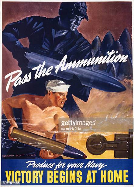 Pass the Ammunition Victory Begins at Home Poster by Howard Scott