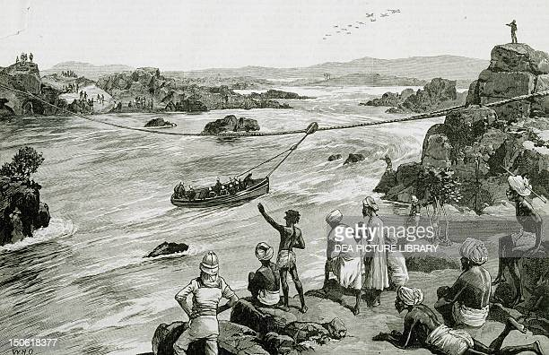 Passage down the waterfalls during the British expedition to Khartoum to help Gordon Colonial wars Sudan 19th century