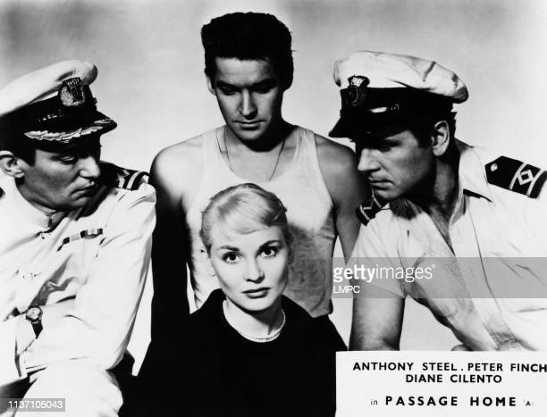 Passage Home lobbycard Diane Cilento rear from left Peter Finch Michael Craig Anthony Steel 1955