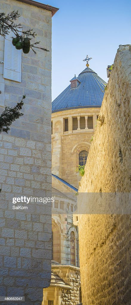 passage near church in old Jerusalem Hagia Maria Sion : Stock Photo