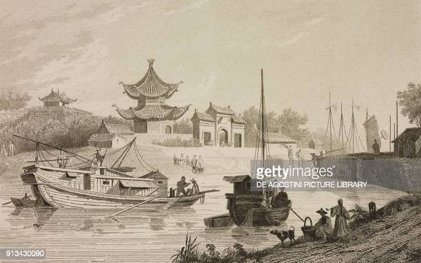 Passage of a lock on the Grand Canal of China China engraving by Pannier from Chine ou Description historique geographique et litteraire de ce vaste...