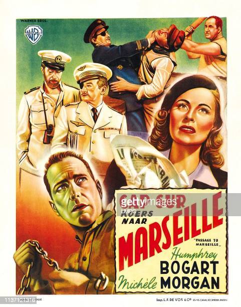 Victor Francen Claude Rains bottom lr Humphrey Bogart Michele Morgan on Belgian poster art 1944