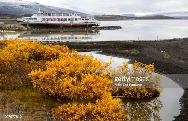 passager boat at egilsstadir, eastern region, iceland - austurland stock-fotos und bilder