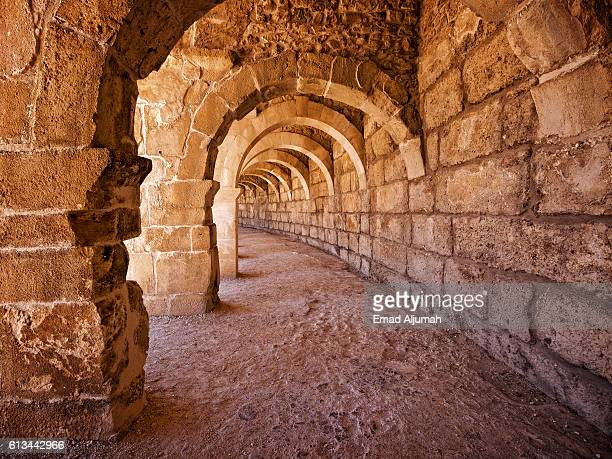 passageway in the roman amphitheatre in aspendos near antalya, turkey - antalya province stock pictures, royalty-free photos & images