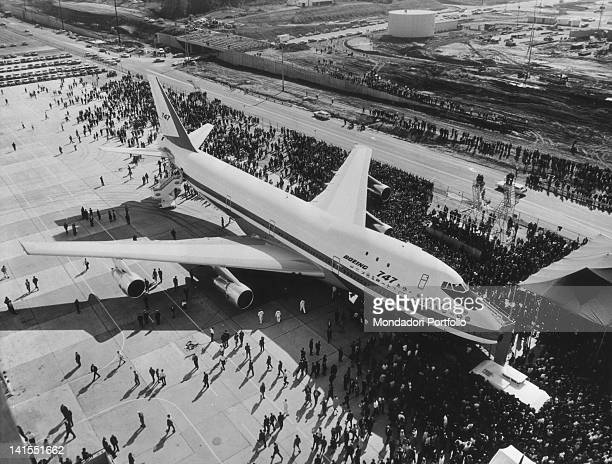 Passanger aircraft 'Boeing 747' at the French Le Bourget Airport being displayed during the Paris Air Show Paris 1969