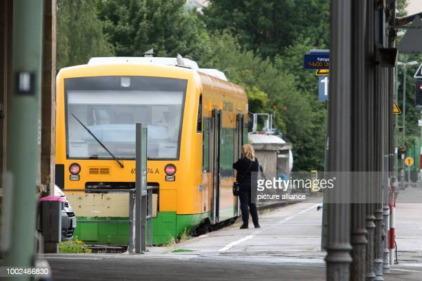A passanger train stands at the train station in Furth im Wald Germany 26 July 2017 The railway connection between Bacaria and the Czech Republic...