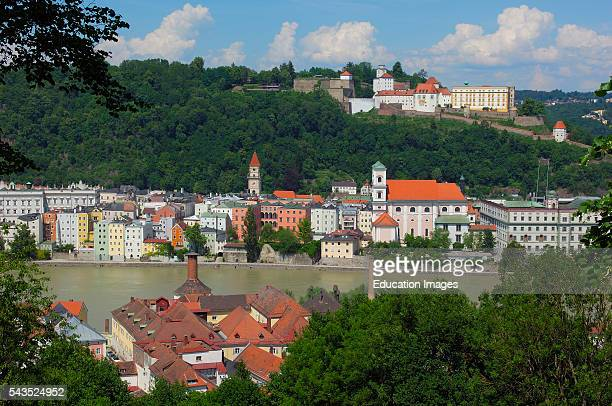 Passau River Inn Veste Oberhaus fortress Lower Bavaria Bavaria Germany Europe